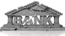 Crumbling bank facade