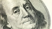 Benjamin Franklin's face on $100 bill