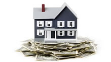 House sitting on stack of money, considering a 15-year home loan