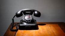 Dial telephone on desk