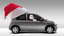 Santa hat on car