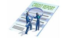 Figures holding magnifying glass over credit report