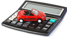 Red car on calculator