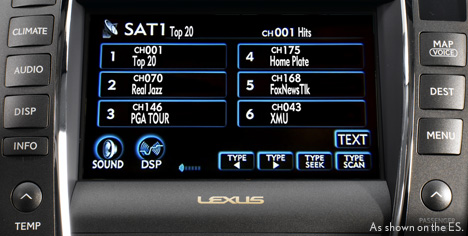 Satellite radio display on dashboard