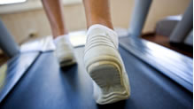Feet on a treadmill