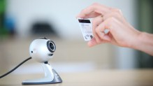 Webcam pointed at credit card