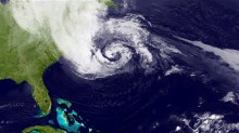 View of Hurricane Sandy from space