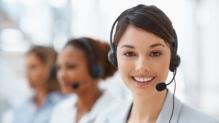 Women wearing phone headsets
