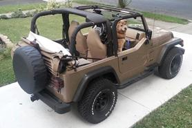 brown jeep wrangler with top down and brown dog in the front seat
