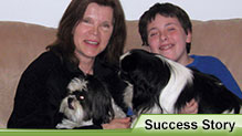 Bernadette, her son Aaron, and their dogs