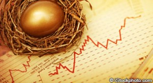 Golden egg in nest on top of fever chart