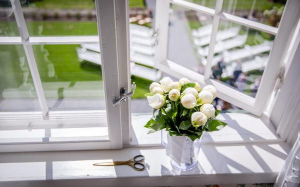 Flowers by the window in Hoel Gard, Norway